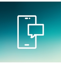 Empty speech bubble in smartphone thin line icon vector
