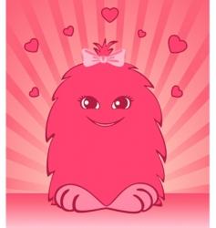 Cartoon animal with hearts vector