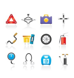 Car and transportation equipment icons vector