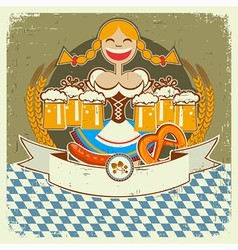 Vintage oktoberfest symbol label with girl and vector