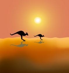 Two running kangaroos vector
