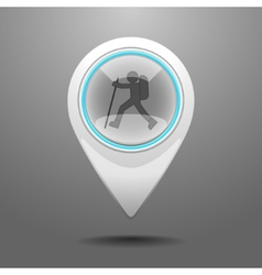Glossy hiking icon vector