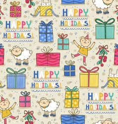 Happy holidays fun seamless pattern on light vector