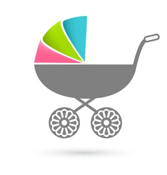 Baby carriage - pram icon isolated on white vector