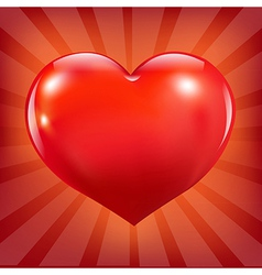 Poster with red heart and sunburst vector
