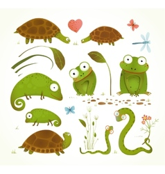 Cartoon green reptile animals childish drawing vector