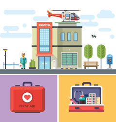 Hospital building with a helicopter on roof vector