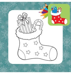 Coloring page santa sock vector