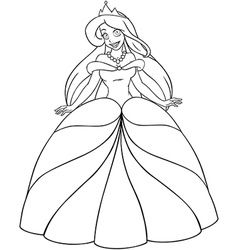 Caucasian princess coloring page vector
