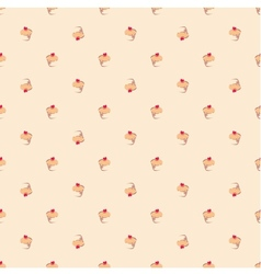 Tile pattern with cupcakes on pink background vector