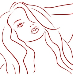 Female laconic heads red outline vector
