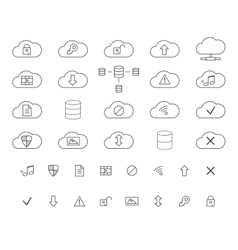 Cloud storage icons set outlined thin line vector
