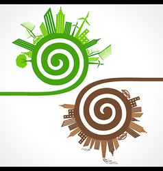 Ecology concept with eco and polluted cities vector