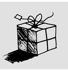 Hand drawn gift box with tag vector
