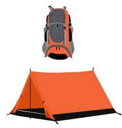Campimg tent and backpack vector
