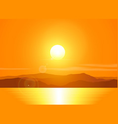 Landscape with sunset over mountain range vector