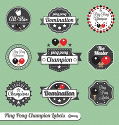 Ping pong champion labels vector