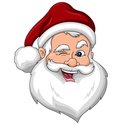 Winking santa claus face side view vector