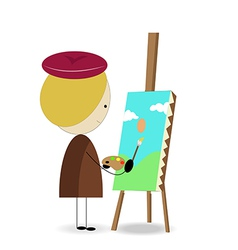 Cartoon kid painter vector