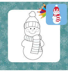 Coloring page snowman vector