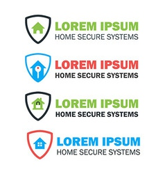 House with shield logo concepts set vector