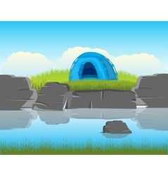 Tent on river vector