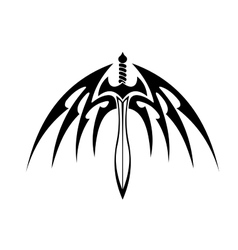 Winged sword with barbed feathers vector