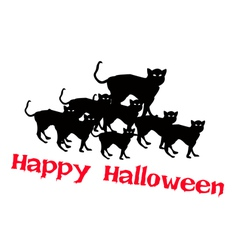 Three evil cat with word happy halloween vector