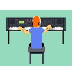 Musician synthesizer geek hipster music player vector