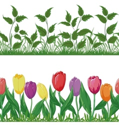 Flowers and grass set vector