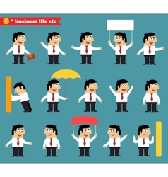 Adult at work emotional poses and situations set vector