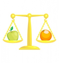 Fruit on scales vector