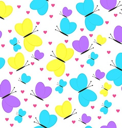 Seamless pattern with butterflies and hearts girly vector
