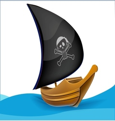 Sail boat with pirate symbol vector