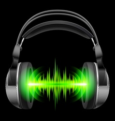 Headphones with music playing vector