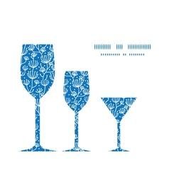 Blue white lineart plants three wine vector