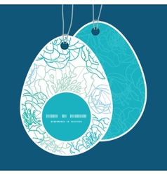 Blue line art flowers easter egg shaped vector