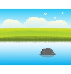 River in steppe vector