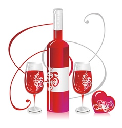 Wine bottle and glasses vector