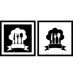 Set restaurant symbols vector