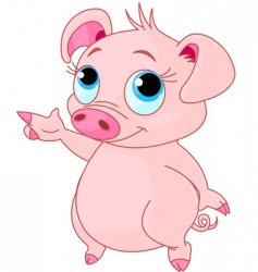 Baby piglet pointing vector