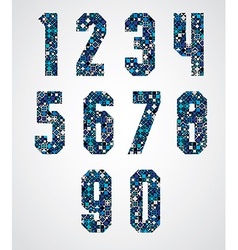 Geometric numbers decorated with blue pixel vector