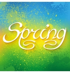Hand drawn word spring lettering on colorful paint vector