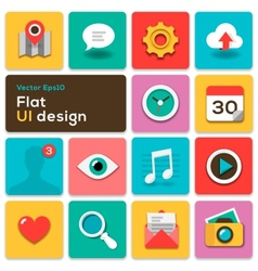 Flat ui design trend set icons vector