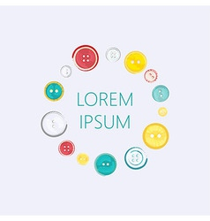 Logo with circle of sewing buttons vector