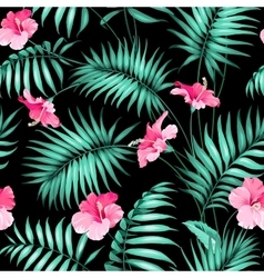 Tropical flowers and jungle vector