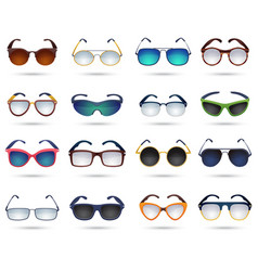 Sunglasses fashion reflection mirror icons set vector