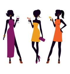 Cocktail party girls vector