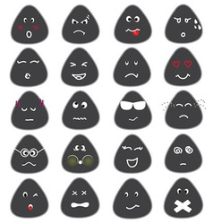 Cute emotion icons set vector