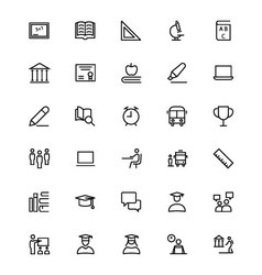 School and education line icons 1 vector